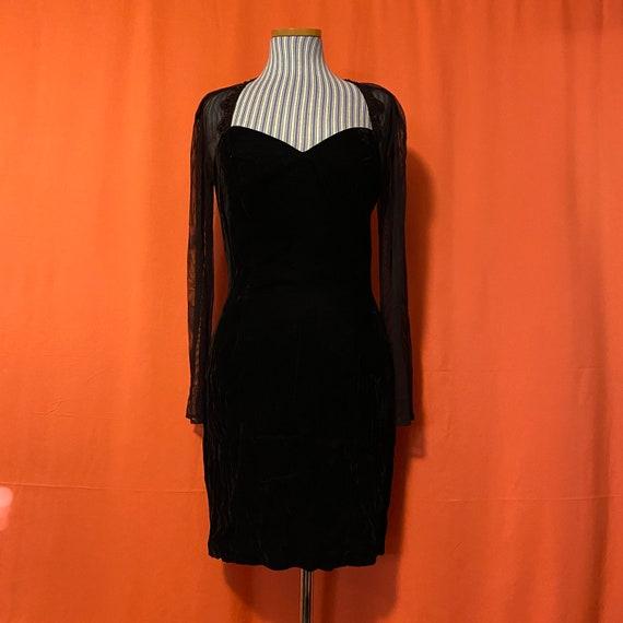 1990s Roberta Mesh Sleeve Velvet Dress