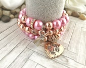 Pink beads, copper beaded charm bracelet set for women, quot I woke up like this quot charm, lipstick charm
