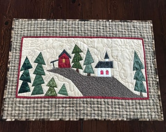 Quilted wallhanging, Quilted table runner, Traditional decor, Brown table runner, House/church/trees on a hill