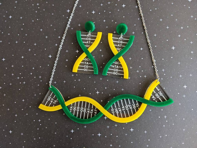 Genetics Jewellery Science STEM jewellery Acrylic Jewellery Double Helix Jewellery Yellow and Green DNA Necklace and DNA Earrings Set