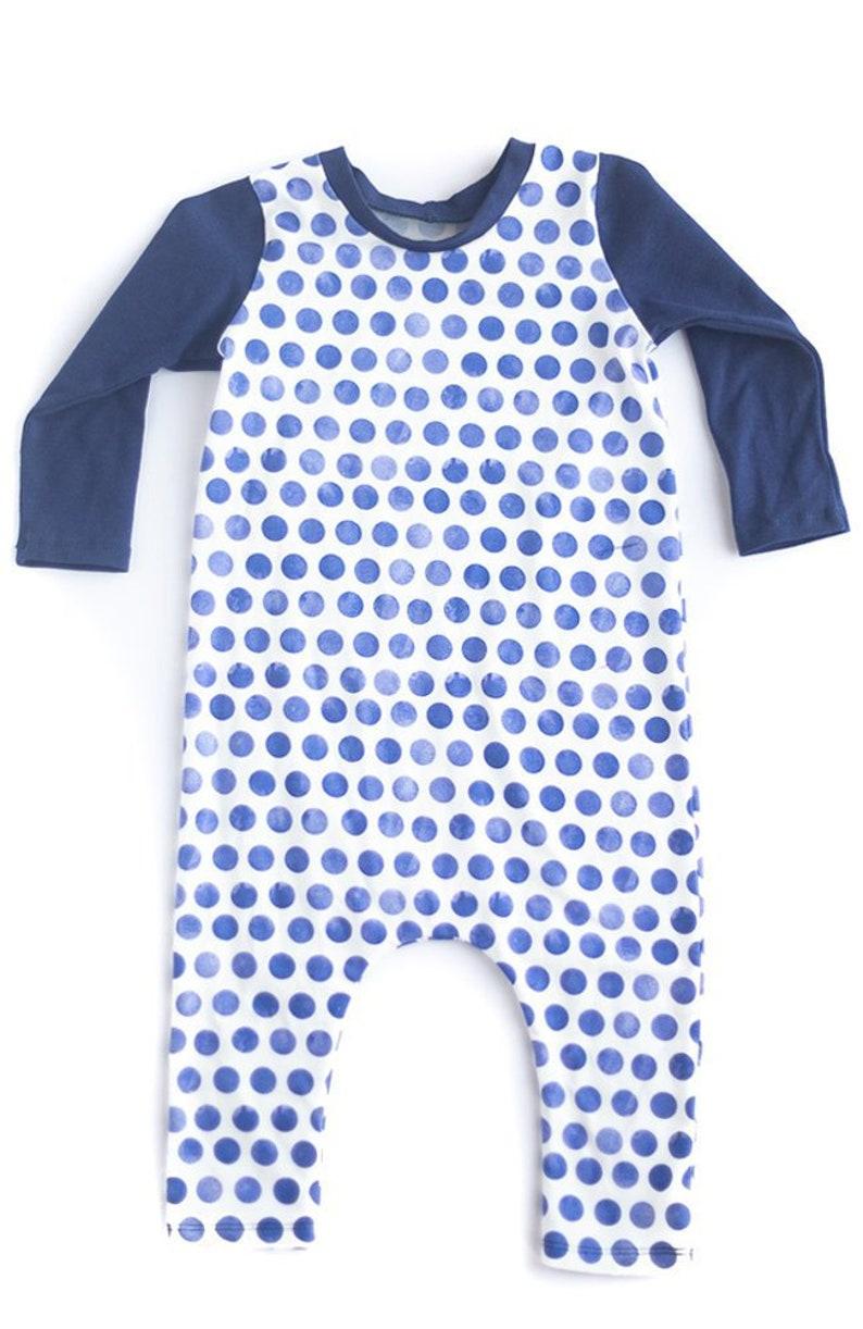 Baby Girls Bamboo Harem Blue Polka Dots Baby Shower Gift. Toddler Boy Playsuit Romper