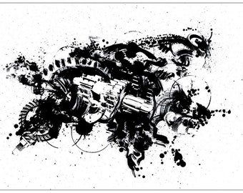 Ink and collage drawing - giclee print