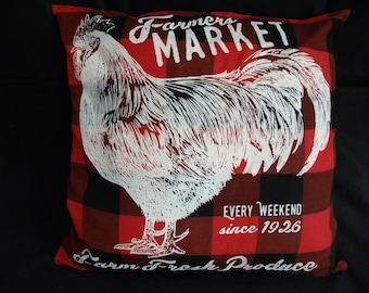 17 X 17 Pillow Cover, Farmhouse, Rooster, Farm Market