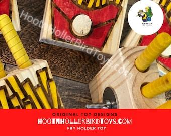 Bird Treat Holder, French Fry Bird Toy, Forager Bird Toy, Unique Parrot Toy, Refillable Bird Toy, HootnHollerBirdToys Original