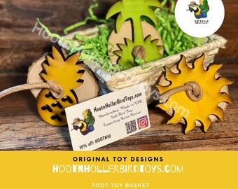Parrot Foot Toy Basket, Tropical Bird Toys, Foraging Basket, Parrot Gift, Parrot Toys, Bird Toy Set, Amazon, African Grey, Senegal, Conure