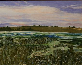 Fields.  Original acrylic painting.