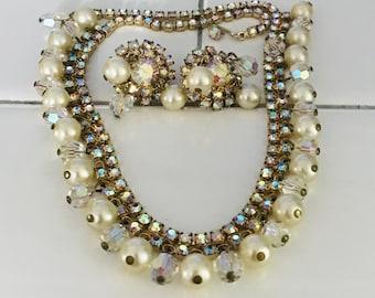 Vintage Kramer Jewelry Set adjustable Necklace matching clip earrings crystals & pearls aurora borealis rhinestones signed