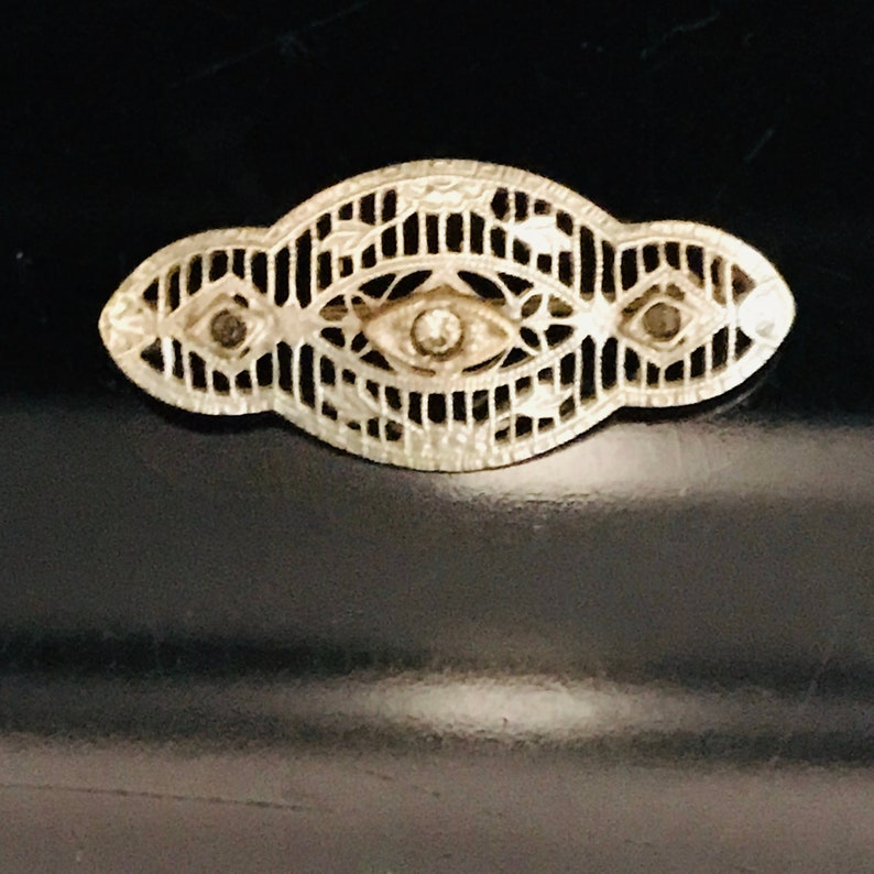 Antique Bar Pin Brooch Jewelry Pin Collectible Austrian Black rhinestones with clear center stone Ornate detail dainty Victorian