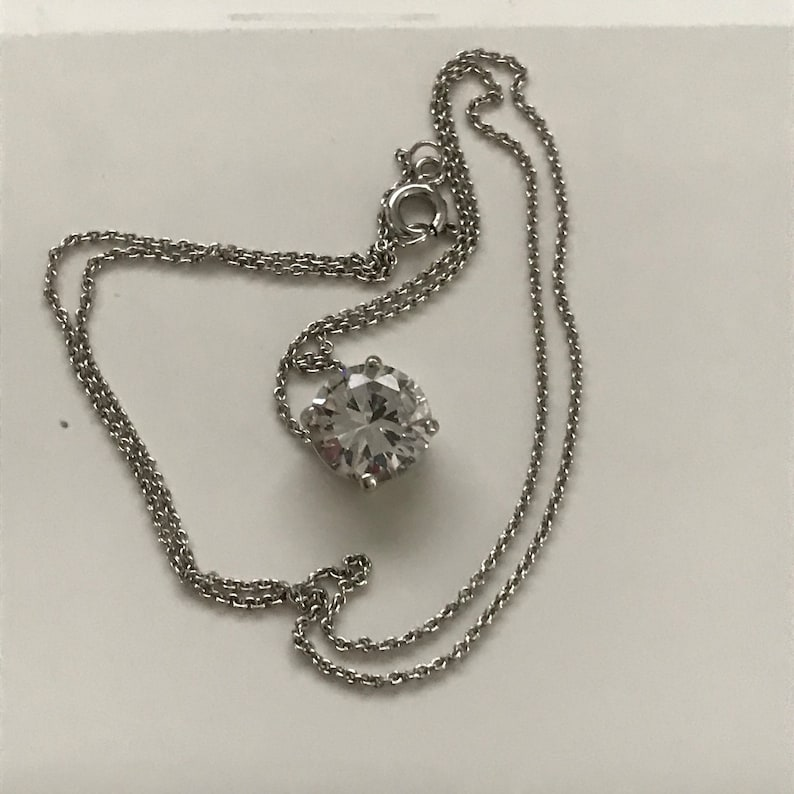 Vintage Sterling Silver chain with CZ round Pendant drop sleek link chain large pendant 4 grams 18 chain Sterling
