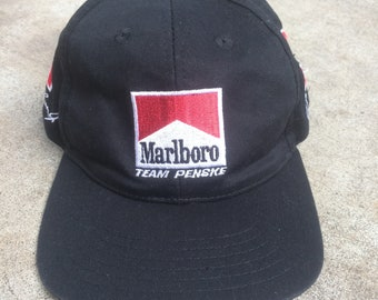 91b27d32b30 Vintage 90s Marlboro Team Penske Indy Car Al Unser Jr. Emerson Fittipaldi 6  Panel Embroidered Snapback Trucker Hat Size Medium to Small
