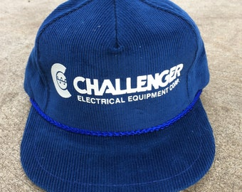 64fb3b86847f3 Challenger Corduroy 5 Panel Strapback Trucker Hat Vintage 90s Made in the  USA!