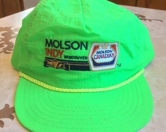 427ec3a4b00 Neon Molson Indy Vancouver 5 Panel 100% Nylon Snapback Trucker Hat Molson  Canadian Vintage 90s