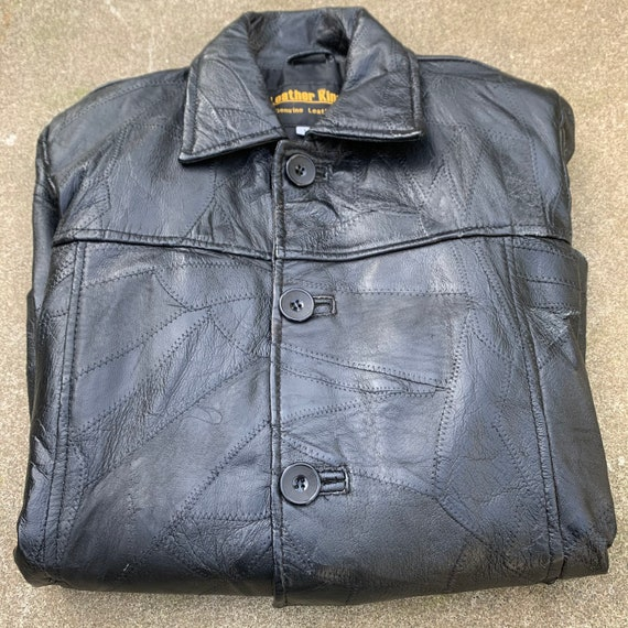 Leather King Biker Jacket Black Textured Leather P