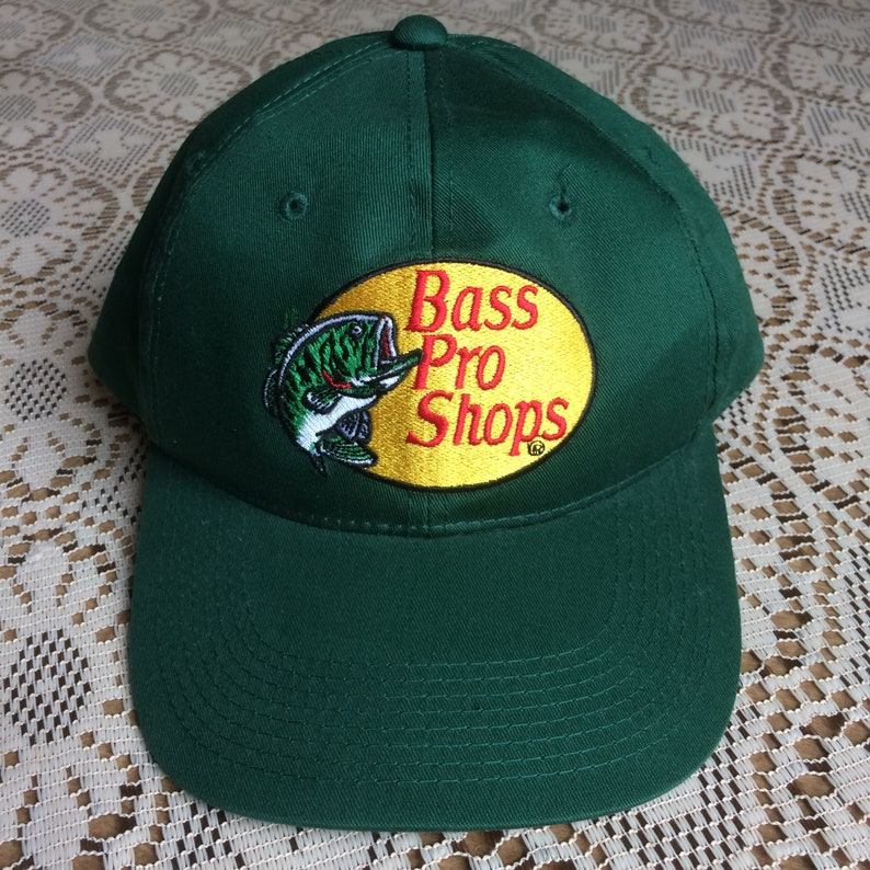 b528ac4725087 Vintage 90s Green Bass Pro Shops Cotton 6 Panel Poly Mesh