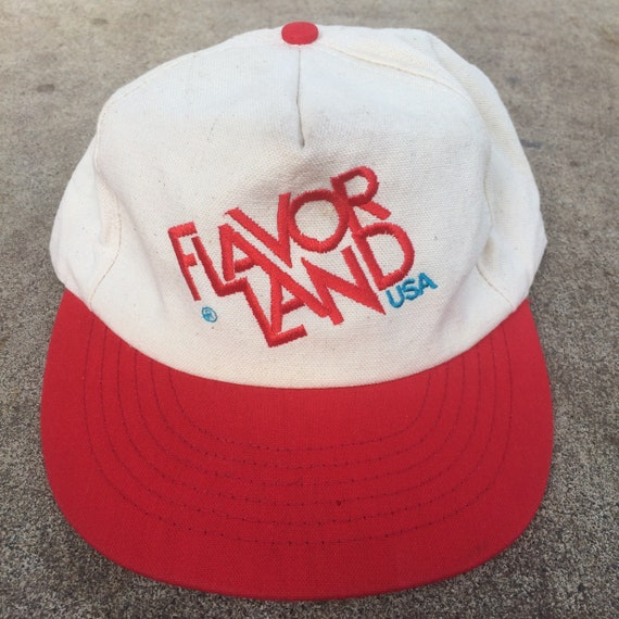 b16d90dae5e5c Vintage 1950s Style Embroidered Flavor Land USA 5 Panel Snapback Trucker Hat