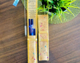 Berry Fairy BUNDLE! Designer SeaSavers Straw Set ~ Hand Blown Glass Art ~ Eco Friendly Gift for Mom, Housewarming, Plastic Free & Healthy