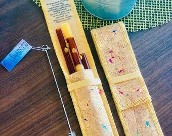 Honey Dip BUNDLE! Designer SeaSavers Straw Set ~ Hand Blown Glass Art ~ Eco Friendly Gift for Mom, Housewarming, Plastic Free & Healthy