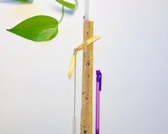 Unicorn Mermaid SKINNY Glass Straw + Rainbow Cork Case & Brush ~ Eco Friendly Gift, Party Favour, Designer Hand Made Glassware