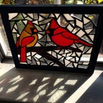Cardinals in Winter Stained Glass Mosaic Art Panel in Frame - 8 x 10 inches