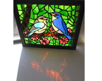 Spring Bluebirds Stained Glass Mosaic Art Panel in Frame - 8 x 10 inches - gift