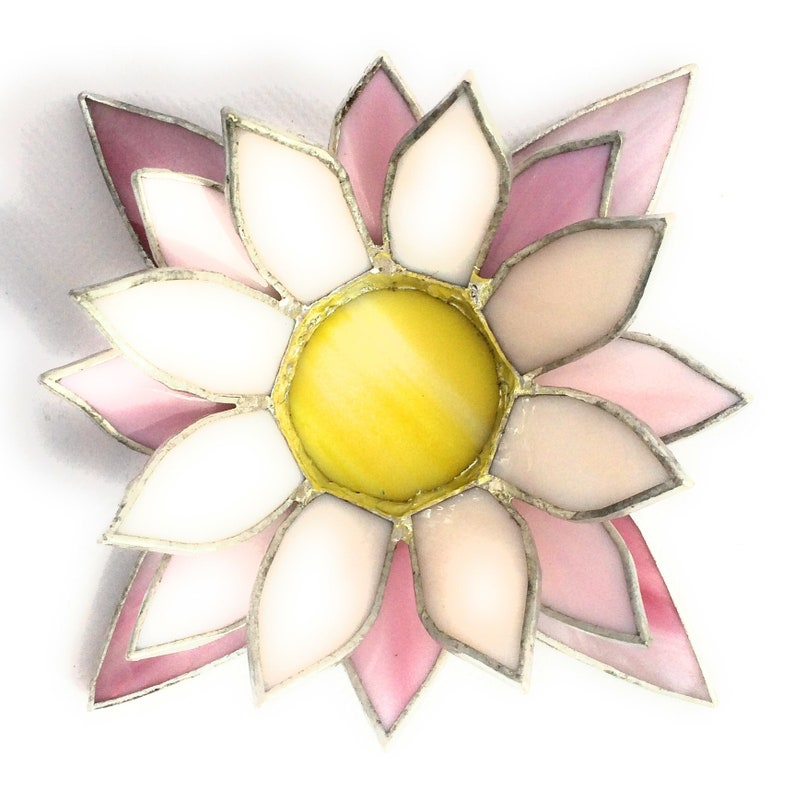 Pink White Lotus Candle Holder Tiffany Style Stained Glass Etsy