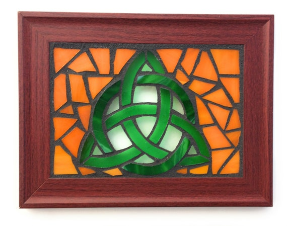 Celtic Trinity Knot Stained Glass Mosaic Art Panel in Frame 5 x 7 Bronze Background