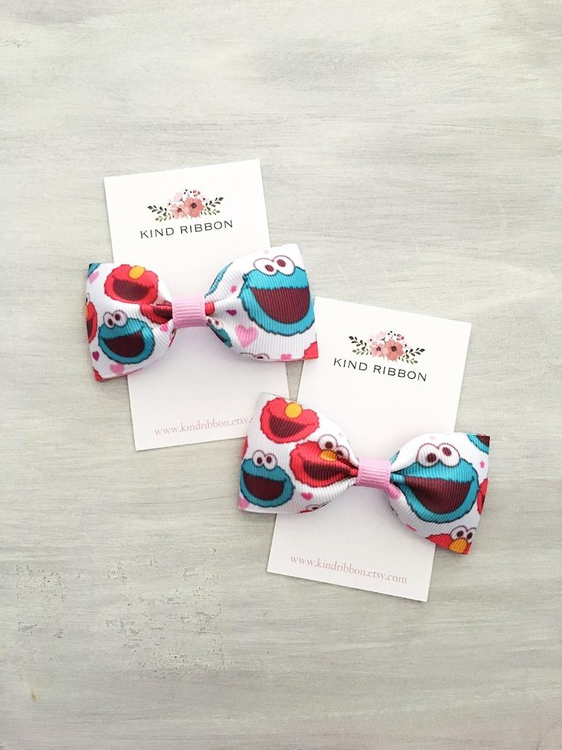 Sesame Street Elmo Cookie Monster Hair Bows, 3 Inch Hair Bows, Pigtails  Hair Bow, Baby Hair Bow, Toddler Hair Bow, Baby Bow Clips