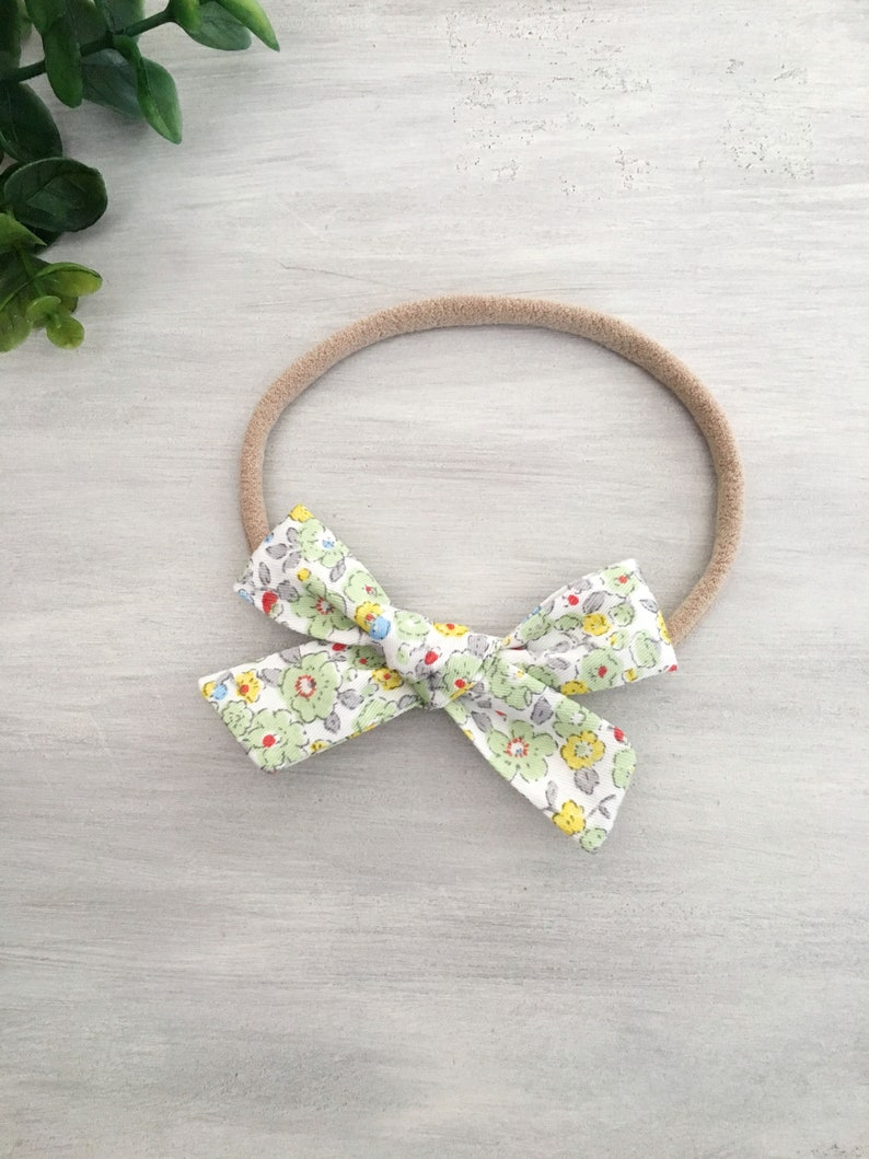 Hand Tied Floral Fabric Hair Bow\u23aeAvailable in 2 Sizes\u23ae Fabric Bow Headband Baby Shower Gift Fabric Bow Clip