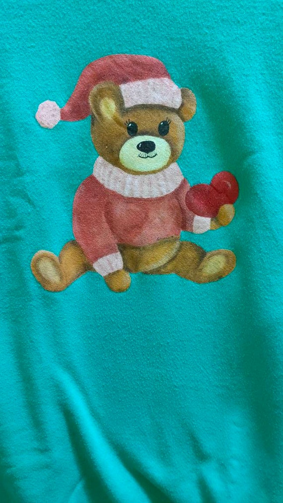 Vtg Made In USA Bear Cartoon Anime Sweatshirt - image 3