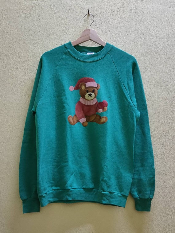Vtg Made In USA Bear Cartoon Anime Sweatshirt - image 1
