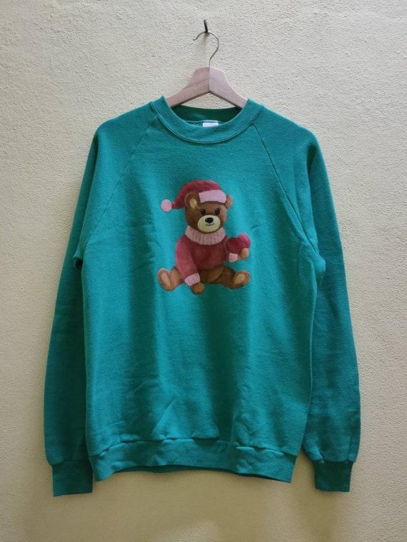 Vtg Made In USA Bear Cartoon Anime Sweatshirt