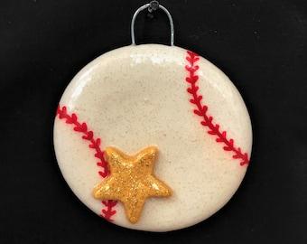Salt Dough Baseball Ornament