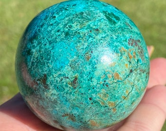 80mm Large Hand Made Natural Arizona Chrysocolla Malachite and Quartz Gemstone Ball Orb Arizona Chrysocolla Malachite Sphere