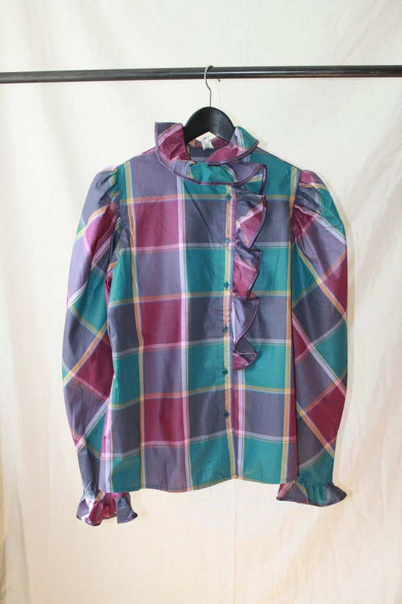Vintage Ruffled Checked Shirt w. Puff Sleeves
