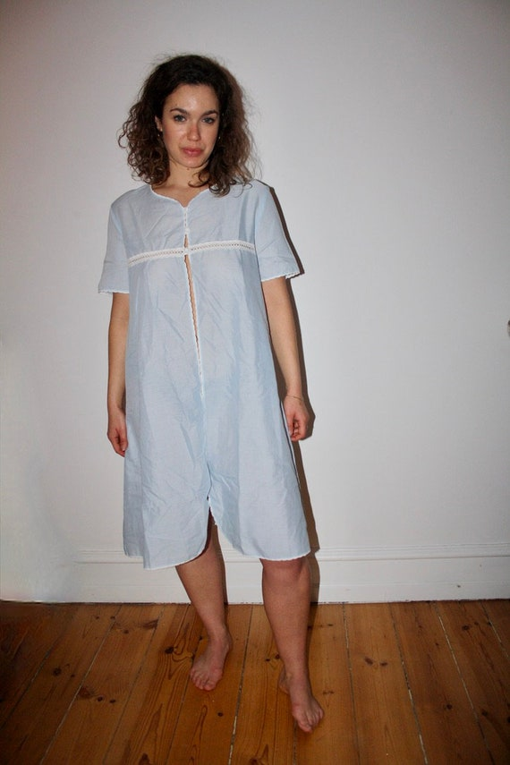 Baby Blue Cotton Night Gown