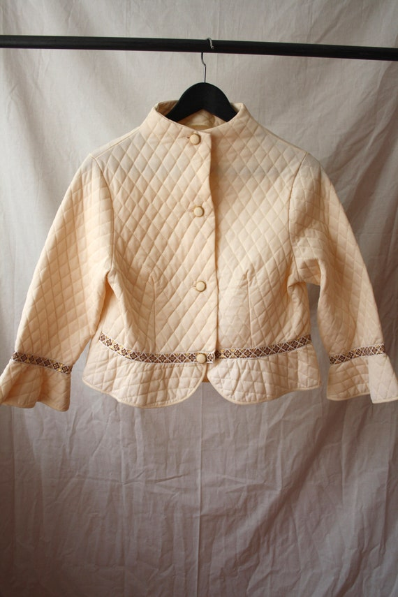 1960s Short Quilted Kimono / Bed Jacket / Robe