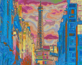 Digital illustration of the Eiffel Tower, pastel version, to print yourself
