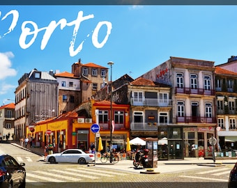 Cliché of the streets of Porto with borders, Portugal, to print yourself for a postcard, a poster, a canvas or any other decorative idea