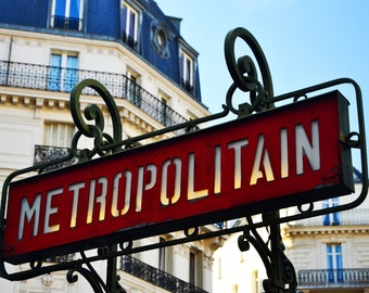 "Typical signboard for the subway of Paris, red picture of ""Metropolitain"" signboard, picture to print yourself"