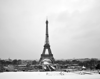 Lot of 3 rare photos of the Eiffel Tower under the snow to print yourself