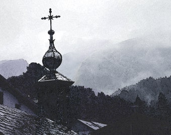 Digital painting of a church in the mountains to print