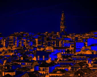 Blue and orange digital illustration of the city of Porto, at night, to print yourself