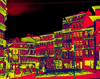 Red and yellow digital illustration of a square and a street, in town, at night, to print yourself