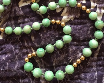 Vintage Jade and Gold Necklace