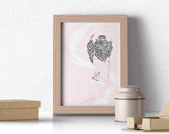 Illustration | Print | Woman illustration | Fine art illustration | Tattoo | Wall decoration | Digital print | Decoration print | Home decor