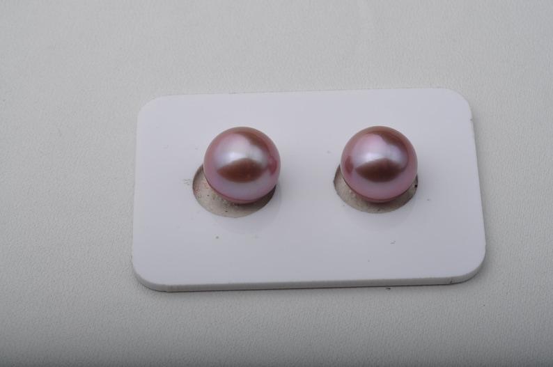 11-11.5mm Edison pearl pair,Round Purple pearl pair,fresh water pearl pair,lavender color pearl pair.DXPS04