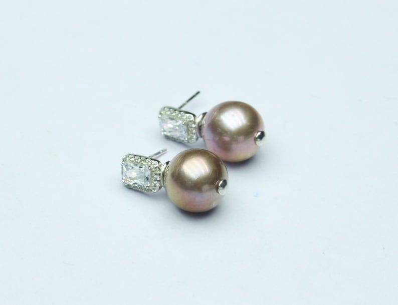12-13mm Large Edison pearl earrings,Purple pearl earrings,sterling silver earrings,zircon earrings,