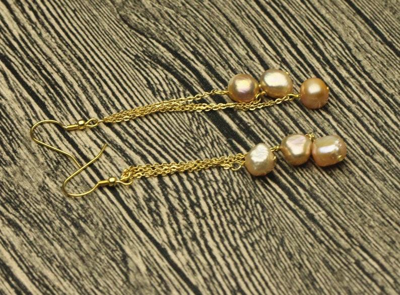 Baroque pearl earrings,metallic pink pearl beads,gold filled earrings,long pearl earrings.