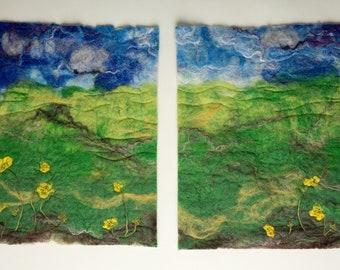 Landscape - Original artwork (wet felting and machine/hand embroidery)