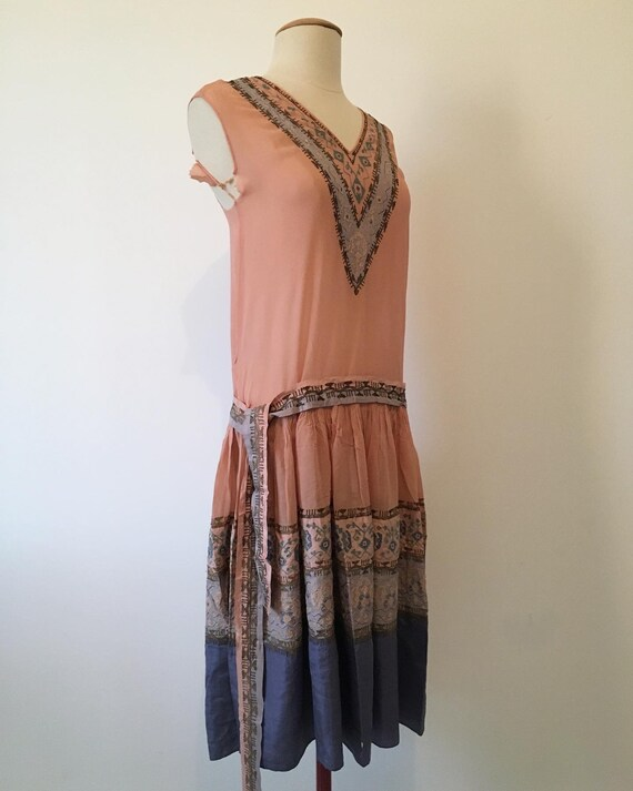 1920s hand embroidered dress vintage flapper frenc